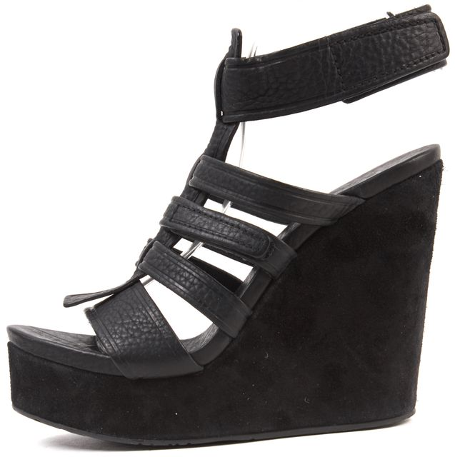 PEDRO GARCIA Black Leather Suede Gladiator Sandal Wedge Heels