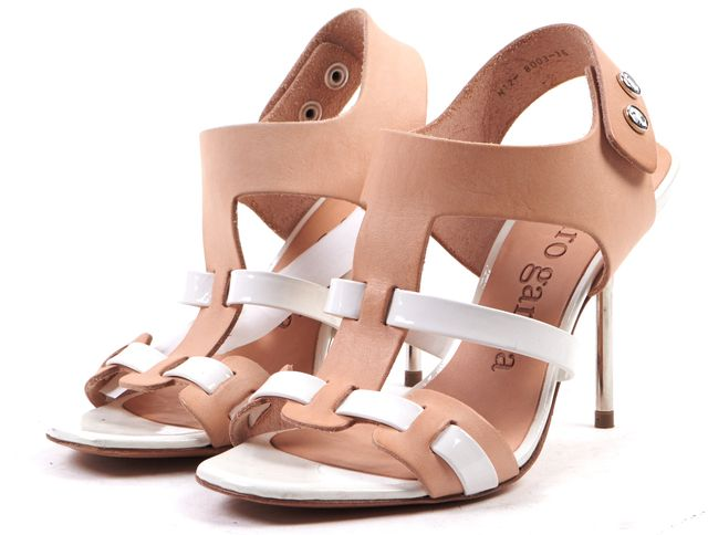 PEDRO GARCIA White Nude Patent Leather Open Toe Caged Sandal Heels