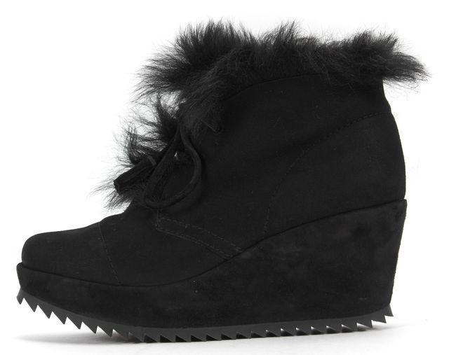 PEDRO GARCIA Black Suede Fur Lined Fidela Lace-Up Wedges