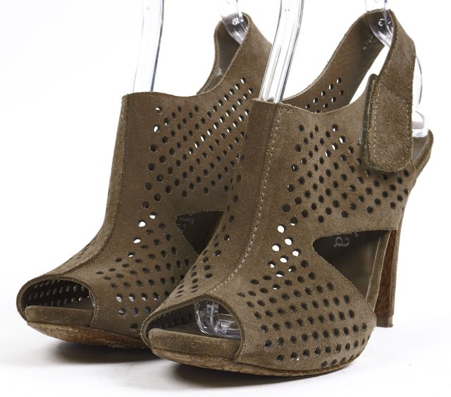 PEDRO GARCIA Olive Green Perforated Suede Leather Sandal Heels