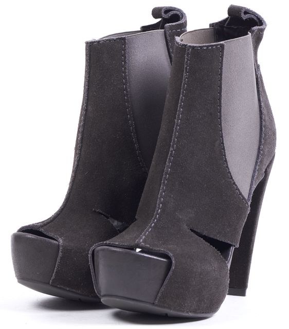 PEDRO GARCIA Gray Suede Open Toe Cut Out Ankle Boot Heels