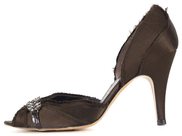 PEDRO GARCIA Brown Jewel Embellished Satin Peep-Toe d'Orsay Heels