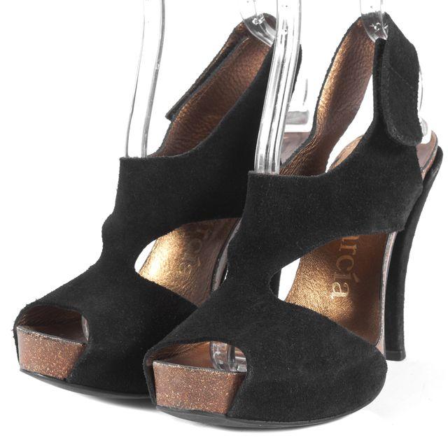 PEDRO GARCIA Black Suede Platforms & Wedges Heels