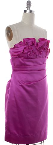 PHOEBE COUTURE Purple Contrast Ruffle Strapless Shift Dress