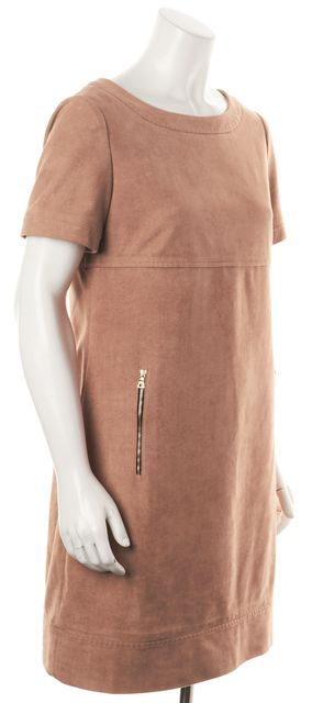 PHOEBE COUTURE Beige Faux Suede Pocket Front Short Sleeve Shift Dress