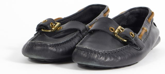 PIERRE HARDY Black Brown Leather Boating Buckle Loafers