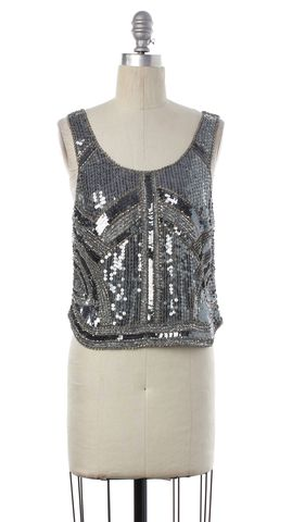 PARKER Silver Sequin Silk Cropped Scoop Neck Tank Top Size S
