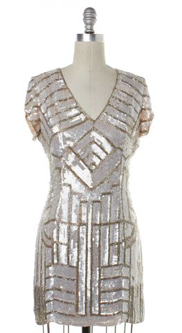 PARKER White Sequined Beaded Embellished Silk Mini Sheath Dress Size S
