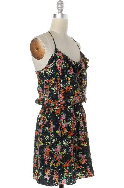 PARKER Black Floral Print Spaghetti Strap Blouson Dress