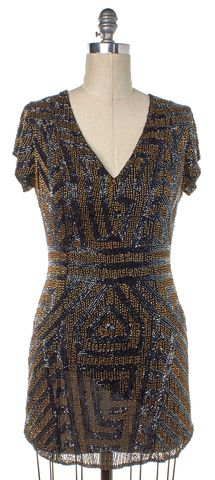 PARKER Black Bronze Embellished Silk V Neck Short Sleeve Sheath Dress Size L