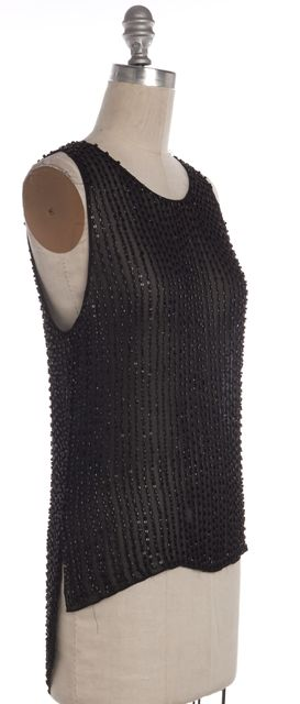 PARKER Black Sequined Beaded Embellished Sleeveless Blouse Top
