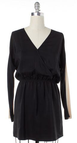 PARKER Black Ivory Silk V-Neck Blouson Dress