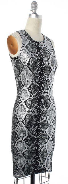 PARKER Silver Black Metallic Animal Printed Bodycon Dress