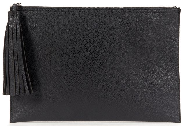 PARKER Black Faux Leather Pebbled Large Clutch