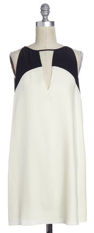 PARKER Ivory Black Silk Keyhole Sleeveless Shift Dress
