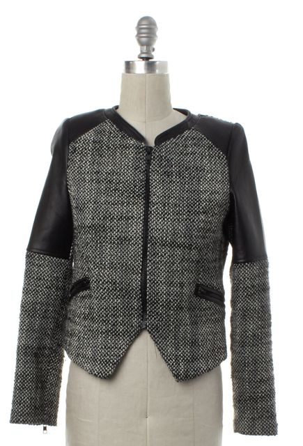 PARKER Black White Tweed Leather Trim Zip Up Jacket