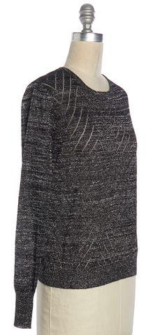 PARKER Black Silver Metallic Zig Zag Knit Top Size XS