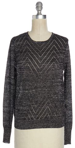 PARKER Black Silver Metallic Zig Zag Knit Top Size XS