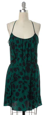 PARKER Green Black Print Silk Blouson Dress Size XS