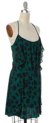 PARKER Green Black Print Silk Blouson Dress Size XS