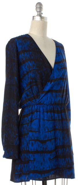 PARKER Blue Black Abstract Print Silk Wrap Dress