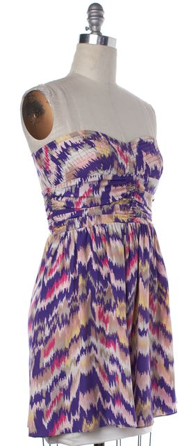 PARKER Purple Multicolor Abstract Print Silk Strapless Corset Dress
