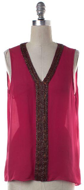 PARKER Pink Embellished Silk V-Neck Sleeveless Blouse