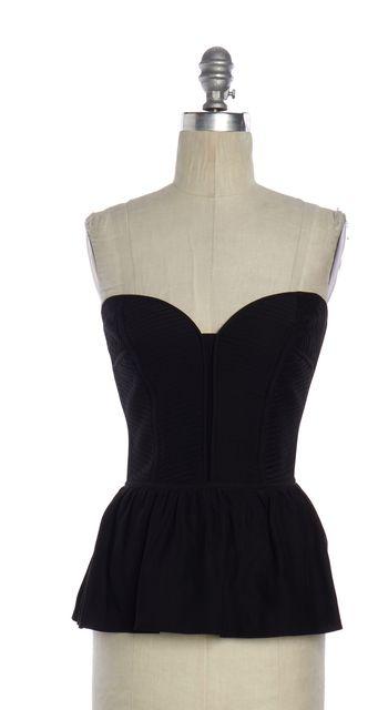 PARKER Black Silk Bustier Top