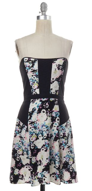 PARKER Black White Multi Floral Print Silk Strapless Fit Flare Dress