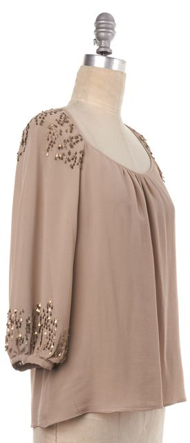PARKER Beige Sequin Embellished Silk Blouse