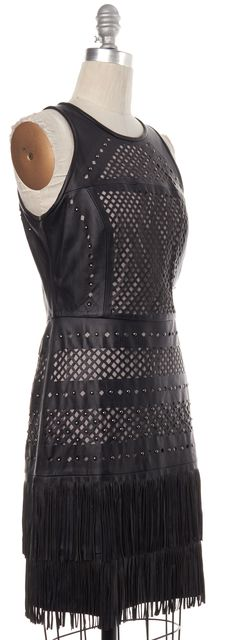 PARKER Black Silver Stud Embellished Perforated Fringe Leather Dress