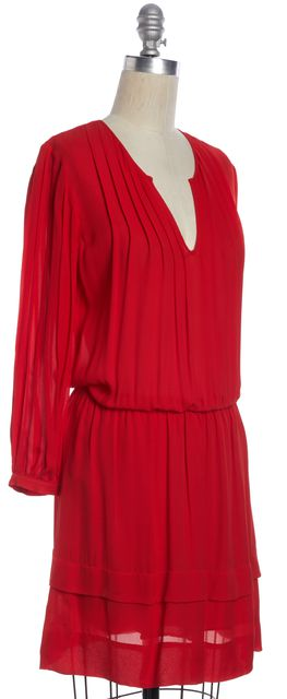 PARKER Red Silk Long Sleeve Knee Length Blouson Dress
