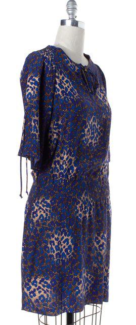 PARKER Blue Brown Abstract Print Silk Blouson Dress