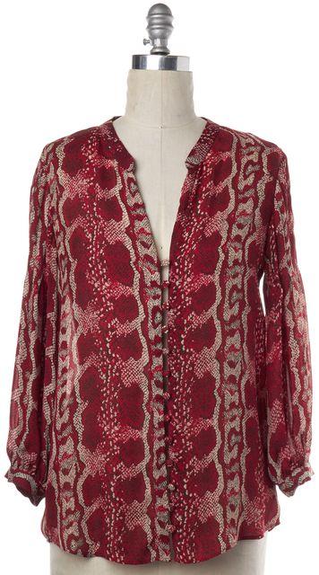 PARKER Red Snakeskin Print Button Down Shirt Top