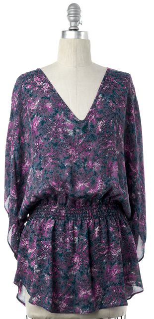 PARKER Purple Multi Color Abstract Print Silk Blouson Top