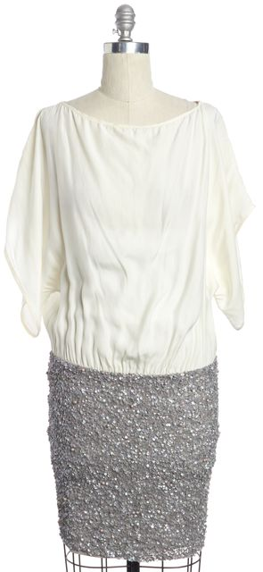 PARKER Ivory Gray Sequin Embellished Silk Blouson Dress
