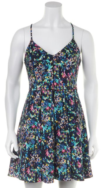 PARKER Blue Pink Green Abstract Floral Print Fit and Flare Summer Dress