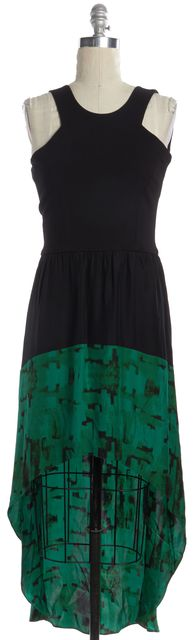 PARKER Black Green Abstract Open Back Asymmetrical Hem Halter Dress