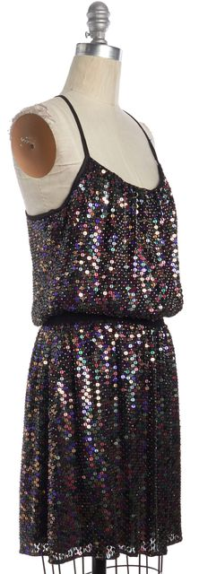 PARKER Black Multi-color Sequin Embellished Silk Blouson Dress