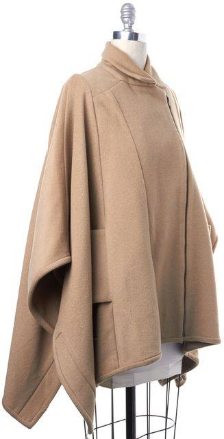 PARKER Camel Brown Asymmetrical Zipper Side Pockets Collared Cape Coat