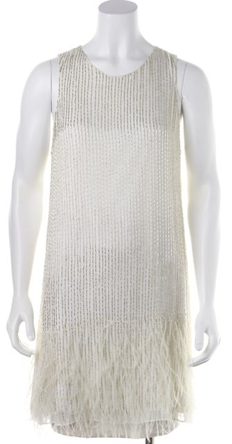 PARKER White Beaded Feather Embellished Formal Cocktail Mini Shift Dress