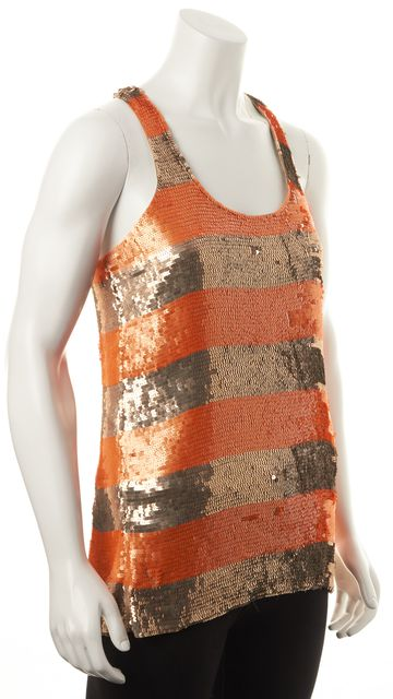 PARKER Orange Beige Sequin Embellished Silk Racerback Tank Top