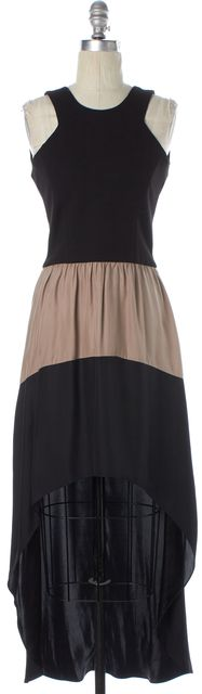 PARKER Black Beige Colorblock Ponte Silk High-Low Sleeveless Sheath Dress