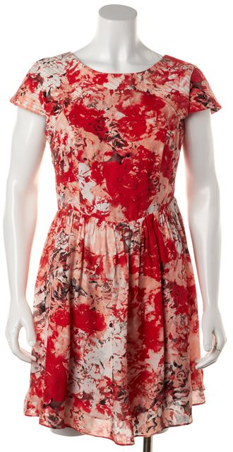 PARKER Red Pink Floral Printed Silk Cap Sleeve Open Back Fit Flare Dress