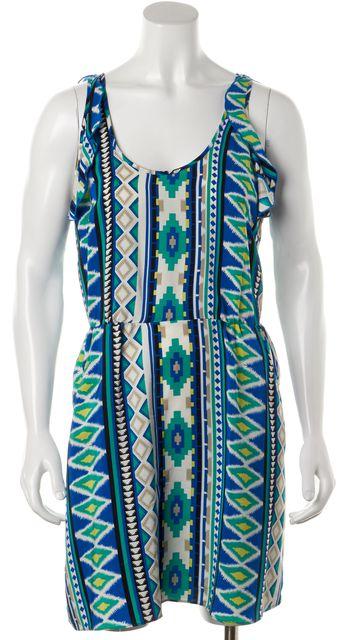 PARKER Blue Green Multi Silk Open Back Ruffle Trim Blouson Dress w Pockets