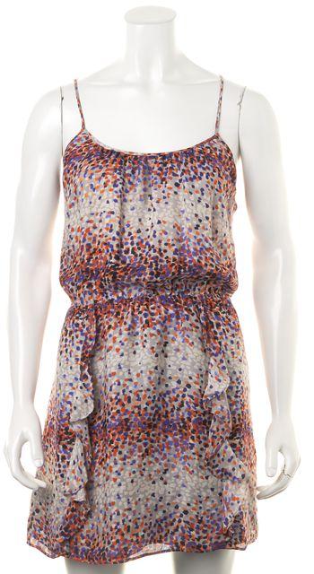 PARKER Gray Blue Orange Abstract Print Silk Thin Strap Blouson Dress