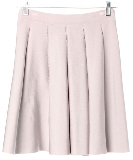 PARKER Gray Pleated Above Knee Stretch A-Line Skirt