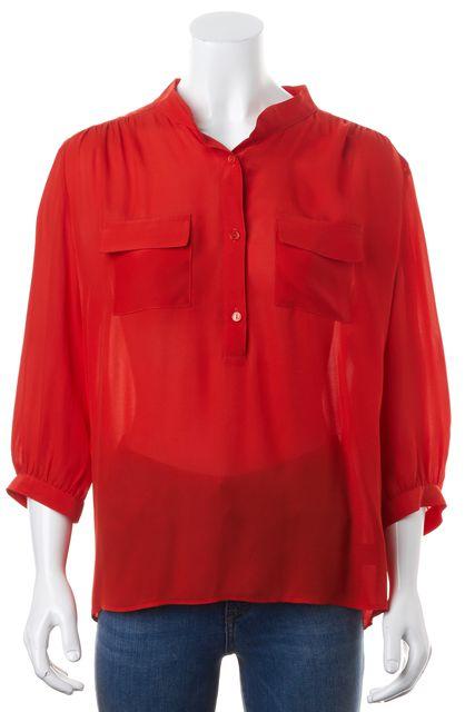 PARKER Red Silk 3/4 Sleeve Half Button Semi Sheer Blouse