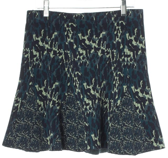 PARKER Blue Abstract Pleated Above Knee A-Line Skirt