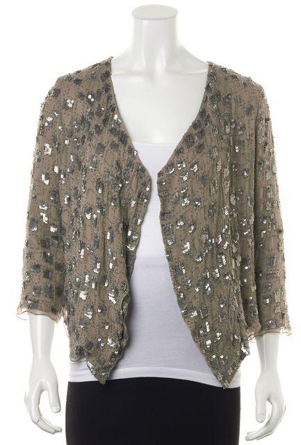 PARKER Beige Silver Sequin Silk 3/4 Sleeve Open Basic Jacket
